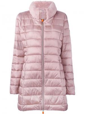 Пальто-пуховик Save The Duck. Цвет: розовый и фиолетовый