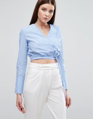 Lavish Alice Рубашка в полоску с запахом на завязке. Цвет: мульти