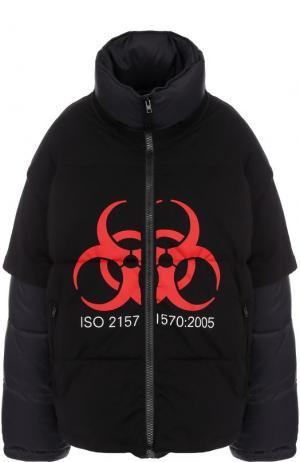 Стеганая куртка свободного кроя с воротником-стойкой Vetements. Цвет: черный