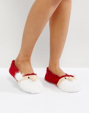 Loungeable Новогодние слиперы-балетки. Цвет: красный