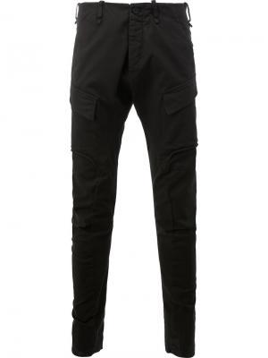 Зауженные брюки-карго Masnada. Цвет: чёрный