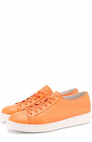Кожаные кеды на шнуровке Santoni. Цвет: оранжевый