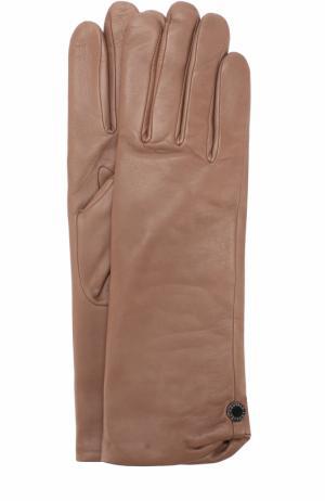 Кожаные перчатки с подкладкой из шерсти Agnelle. Цвет: темно-бежевый