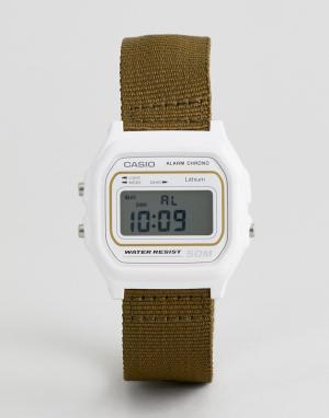 Casio Цифровые часы с парусиновым ремешком цвета хаки Сasio W-59B-3AVEF. Цвет: зеленый