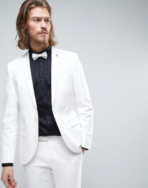 Noose & Monkey Супероблегающий пиджак-смокинг. Цвет: белый