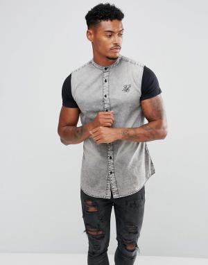 SikSilk Облегающая джинсовая рубашка с трикотажными рукавами. Цвет: серый