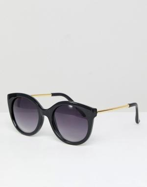 Jeepers Peepers Большие солнцезащитные очки кошачий глаз. Цвет: черный