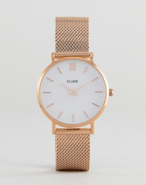 Cluse Золотисто-розовые часы с сетчатым ремешком CL30013 Minuit. Цвет: золотой