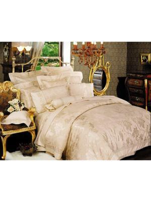 Постельное белье 1,5-спальное, жаккард. сатин, вышивка, 2 нав. 50х70 Asabella. Цвет: светло-бежевый