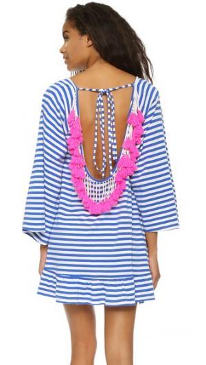 Короткое пляжное платье Indiana в полоску SUNDRESS. Цвет: светло-голубой/неоновый розовый