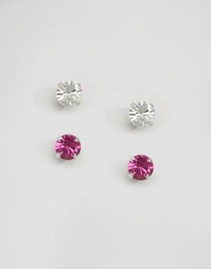 Krystal Набор из двух пар серег-гвоздиков с кристаллами Swarovski Lond. Цвет: розовый