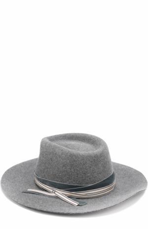 Фетровая шляпа с тесьмой Maison Michel. Цвет: темно-серый