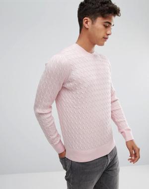 Abercrombie & Fitch Розовый элегантный трикотажный джемпер с логотипом. Цвет: розовый