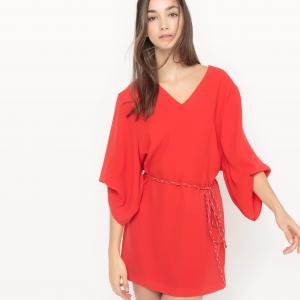 Платье с объемными рукавами Coleen SUNCOO. Цвет: красный