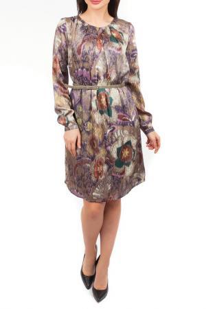 Полуприлегающее платье с длинными рукавами Mees. Цвет: фиолетовый