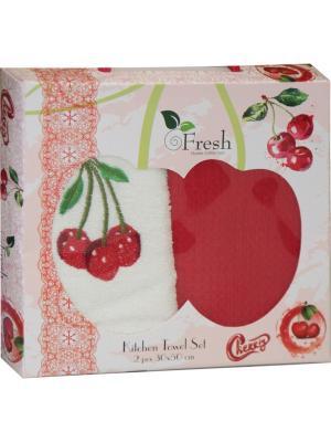 Кухонные полотенца в подарочной коробке ЛЮКС  2 шт., 30х50 см, 100% хлопок Dorothy's Нome. Цвет: красный, кремовый