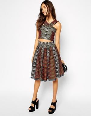 X Asos Full Skirt in Matric Print - Sika. Цвет: matric print