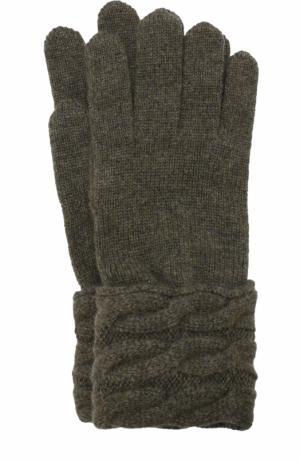 Вязаные перчатки из кашемира Kashja` Cashmere. Цвет: хаки