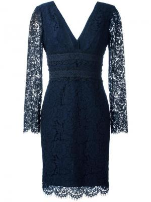 Кружевное платье с глубоким V-образным вырезом Diane Von Furstenberg. Цвет: синий