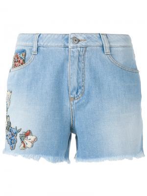 Flora embellished shorts Ermanno Scervino. Цвет: синий