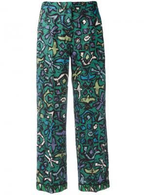 Расклешенные брюки с абстрактным принтом Valentino. Цвет: зелёный