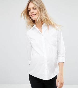 ASOS Maternity Рубашка с рукавами 3/4 DESIGN. Цвет: белый