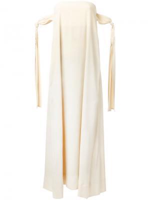 Длинное платье без бретелек Erika Cavallini. Цвет: телесный