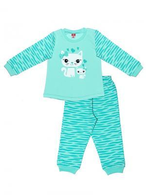 Пижама для девочки Cherubino. Цвет: бирюзовый