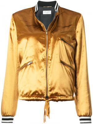 Куртка-бомбер на молнии Saint Laurent. Цвет: жёлтый и оранжевый