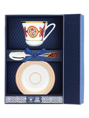 Набор чайный Сад - Византия 3 предмета + футляр АргентА. Цвет: серебристый