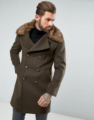 Gianni Feraud Пальто в стиле милитари с отделкой искусственной шерстью. Цвет: зеленый