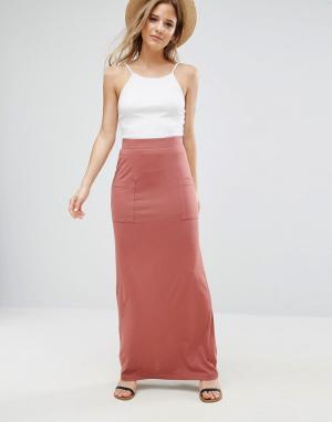 ASOS Трикотажная юбка макси с карманами. Цвет: розовый