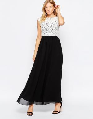 Club L Платье макси с кружевным топом и шифоновой юбкой. Цвет: черный