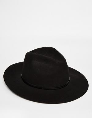 Catarzi Широкополая шляпа-федора. Цвет: черный