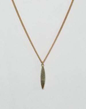 Made Ожерелье с подвеской-листиком. Цвет: золотой