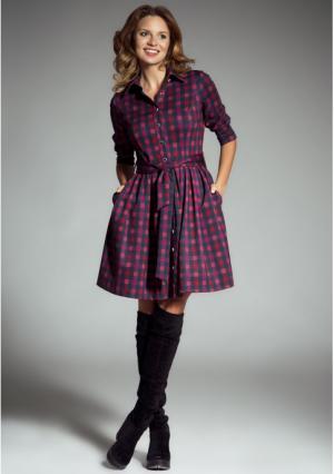 Платье MY STYLE. Цвет: пурпурный, серо-малиновый