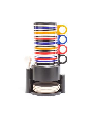 Набор посуды из 12 предметов с подставкой ЧАЕПИТИЕ BRADEX. Цвет: белый