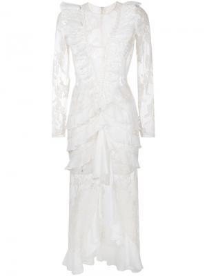 Кружевное платье Alessandra Rich. Цвет: телесный
