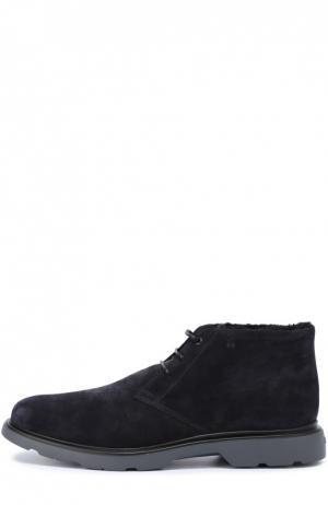 Замшевые ботинки с внутренней меховой отделкой Hogan. Цвет: темно-синий