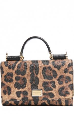 Чехол Mini Von для iPhone 6/6S с леопардовым принтом Dolce & Gabbana. Цвет: коричневый