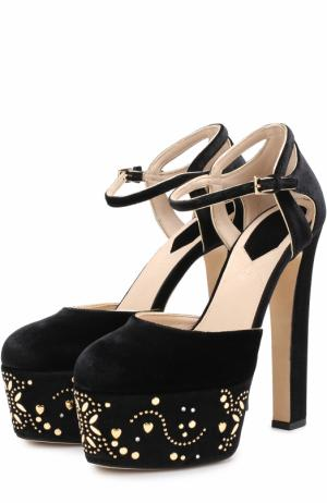 Бархатные туфли с заклепками на платформе Elie Saab. Цвет: черный