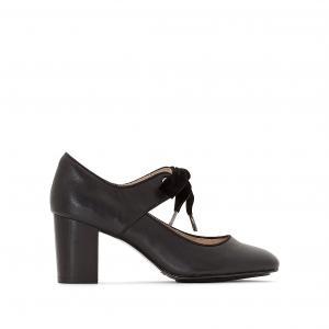 Туфли кожаные на каблуке Margot Langdon HUSH PUPPIES. Цвет: черный