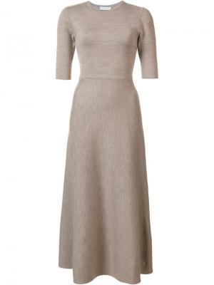 Расклешенное платье миди Gabriela Hearst. Цвет: коричневый