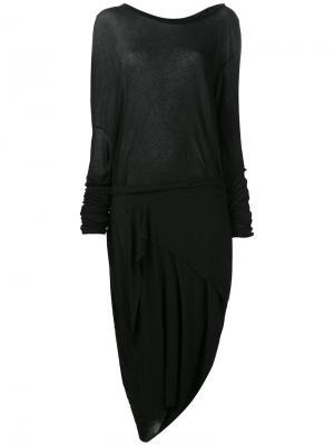 Асимметричное платье с длинными рукавами Barbara I Gongini. Цвет: чёрный