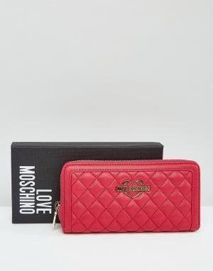 Love Moschino Стеганый кошелек с логотипом. Цвет: розовый