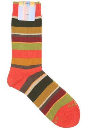 Хлопковые носки в контрастную полоску Gallo. Цвет: оранжевый