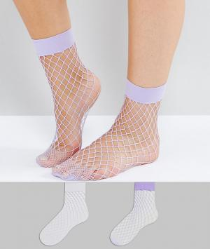 New Look Набор из 2 пар носков (белые/лиловые). Цвет: белый