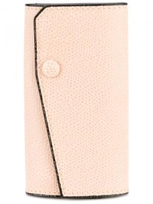 Ключница на кнопке Valextra. Цвет: розовый и фиолетовый