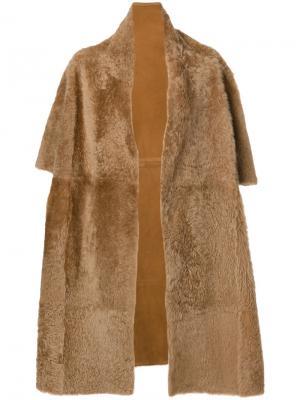 Short sleeve coat Yves Salomon Accessories. Цвет: коричневый