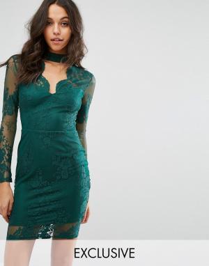 Lipsy Кружевное облегающее платье с глубоким вырезом Michelle Keegan Loves L. Цвет: зеленый